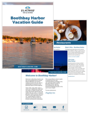 Graphic showing different pages of what's inside the vacation guide - maine page, restaurants, welcome info